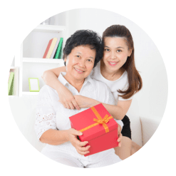 Caregiver with senior woman smiling